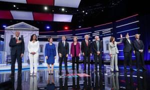 Democratic presidential candidates participate in debate In Atlanta, Georgia, on 20 November.