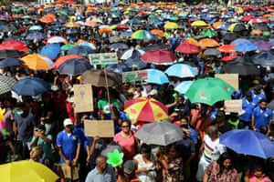 Protestors demonstrate against corruption in the government of President Desi Bouterse in Paramaribo, Suriname on 17 February 2020.
