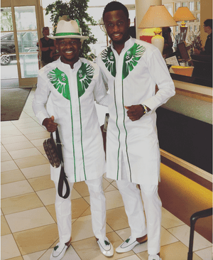 John Obi Mikel and Ogenyi Onazi in Nigeria's World Cup suit.