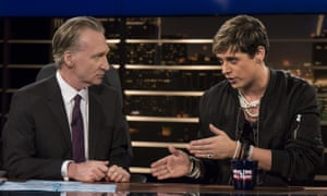 Bill Maher speaks to Milo Yiannopoulos on HBO's Real Time with Bill Maher on Friday.