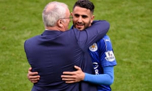 Riyad Mahrez and Claudio Ranieri celebrate Leicester's title win