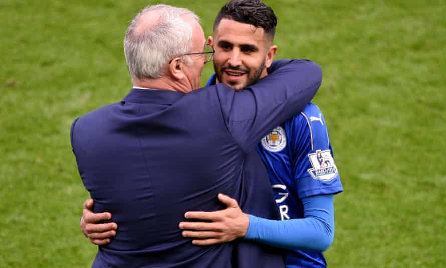 Riyad Mahrez and Claudio Ranieri celebrate Leicester's title win