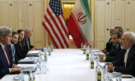 John Kerry (left) meets Mohammad Javad Zarif
