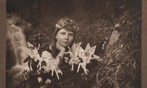 Frances Griffiths in one of the Cottingley fake fairies photographs.