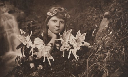 A sepia gelatin silver print of Frances Griffiths taken by Elsie Wright