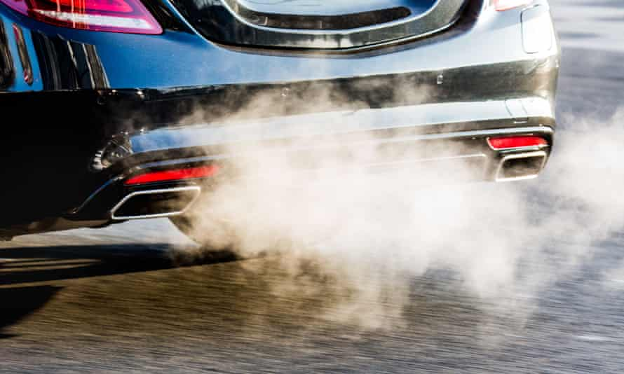 Exhaust fumes spilling out of diesel car