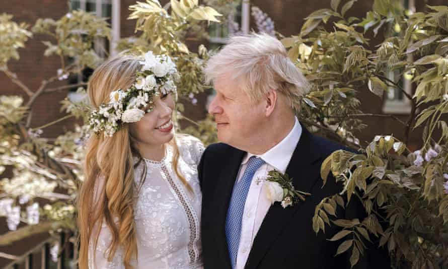 Britain's prime minister, Boris Johnson, and Carrie Johnson pose for a photo at 10 Downing Street.
