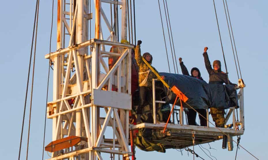 Anti-fracking protesters on the rig at Kirby Misperton, North Yorkshire.