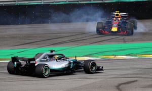 Verstappen spins out after crashing as Hamilton re-takes the lead.