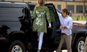 """Melania Trump wearing a Zara jacket that reads, """"I don't really care. Do U?,"""" after visiting the Upbring New Hope Children Center"""