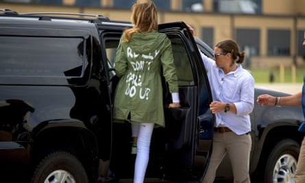 Melania Trump arrives at Andrews Air Force Base in Maryland on 21 June wearing a Zara jacket that reads, 'I don't really care. Do U?'