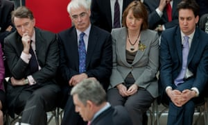 From left: Peter Mandelson, Alistair Darling, Harman and Ed Miliband watch Gordon Brown during the 2010 election campaign.