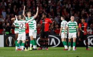 McGregor and Ajer react after teammate Vakoun Issouf Bayo is shown a red card.