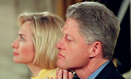Bill Clinton with Hillary Clinton in 1999. Revisiting the former president's misconduct remains a complex issue for many.