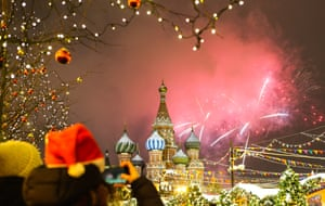 Fireworks go off over Red Square, Moscow, Russia.