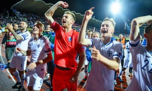 Finland's players celebrate after the home victory over Greece in their Euro 2020 qualifier in September
