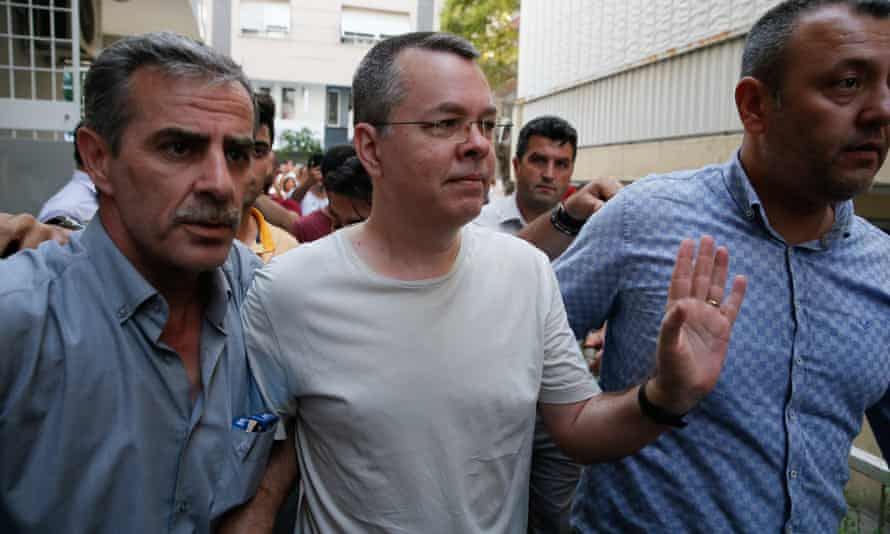 Andrew Brunson, center, in Izmir, Turkey on 25 July.