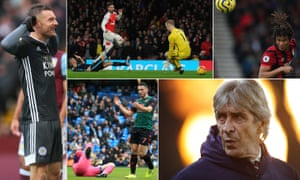 Clockwise from left: Jamie Vardy, Olivier Giroud scores during Arsenal's last home win over Manchester City, Chelsea target Nathan Aké, West Ham manager Manuel Pellegrini and Aston Villa's John McGinn.