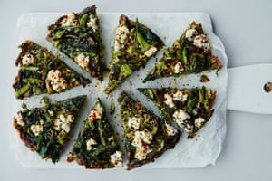 The leafy slice: Wild garlic, nettle and asparagus frittata with ricotta.