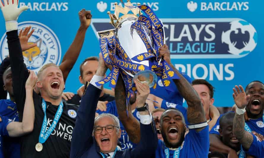 Leicester City celebrate winning the Premier League title