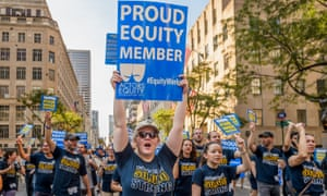 Union members at an annual Labor Day parade in New York City.