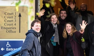 Some of the defendants who blocked roads near Heathrow in protest at its expansion and the effect on climate change.