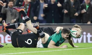 Jacob Stockdale scores the only try in Ireland's win over New Zealand, a result that confirmed their status as northern hemisphere favourites