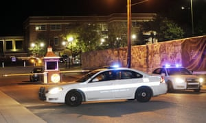 A police car leaves the campus of Tennessee State University.