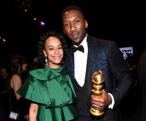 Mahershala Ali at the Golden Globes on 6 January with his wife Amatus Sami-Karim