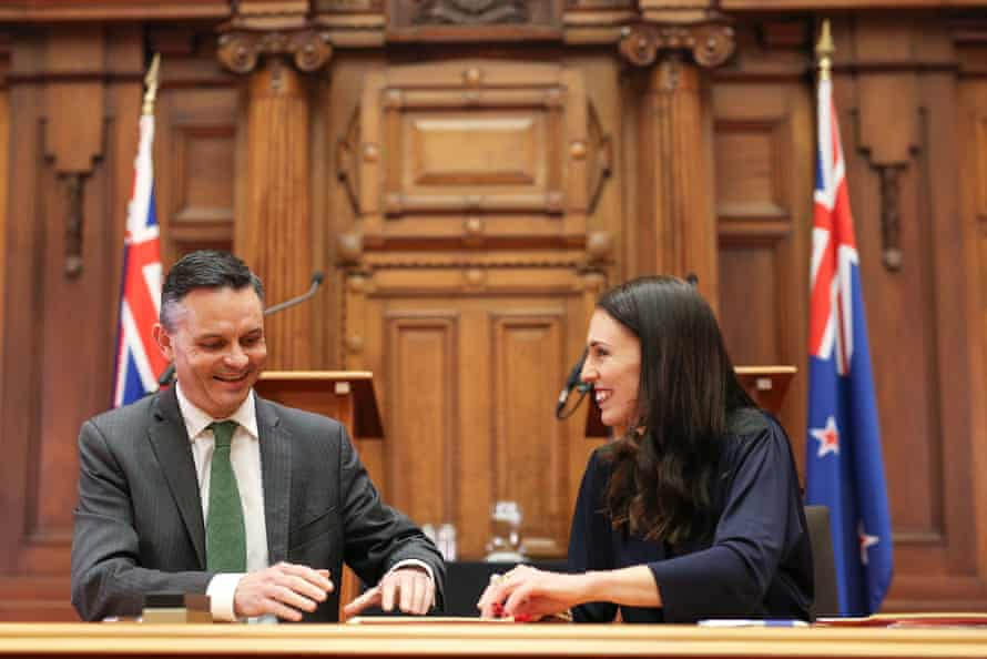 Green party leader James Shaw with prime minister-elect Jacinda Ardern.