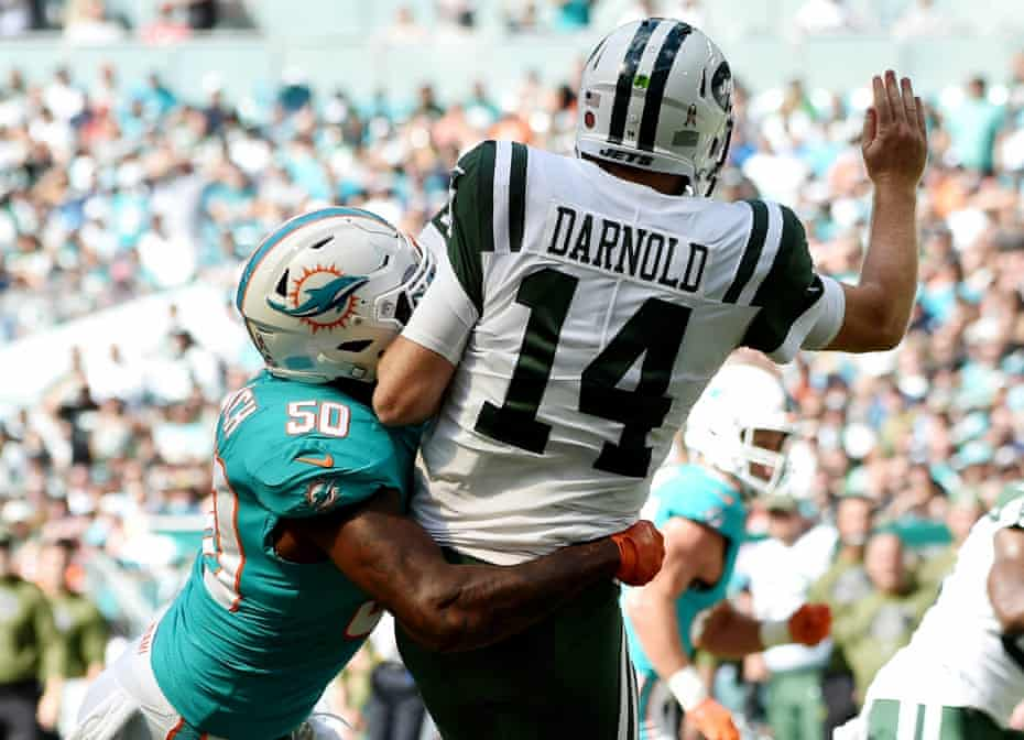 Sam Darnold was harried all afternoon by the Dolphins defense