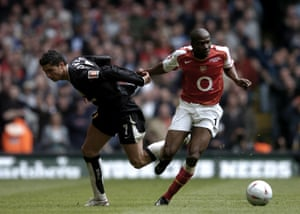 Lauren fends off Manchester United's Cristiano Ronaldo in the 2005 FA Cup final.