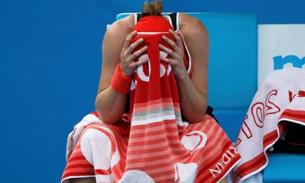 Alize Cornet suffers with heat stress at the Australian Open in 2015
