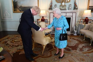 Queen Elizabeth II welcomes newly-elected leader of the Conservative party, Boris Johnson to Buckingham Palace, where she invited him to become Prime Minister and form a new government.