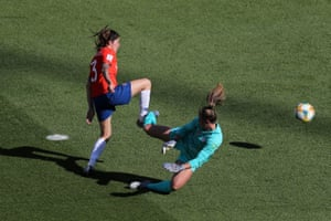 Carla Guerrero of Chile scores a goal past Alyssa Naeher of the USA which is then disallowed during a group F match between USA and Chile at Parc des Princes.