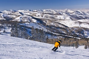 A skier in Park City, Utah. The majority of the population lives in mountain valleys where in winter, temperature inversions can trap air pollutants.