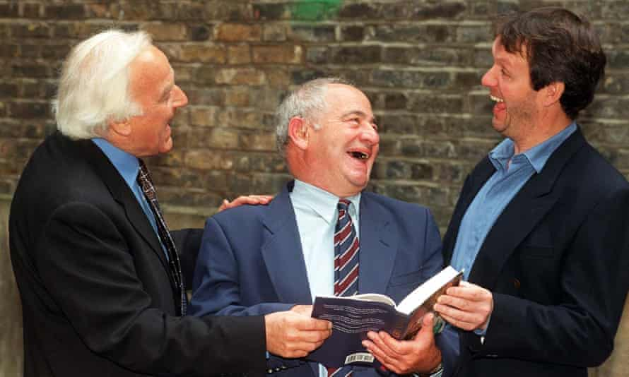 Colin Dexter with John Thaw, left, and Kevin Whately, right.