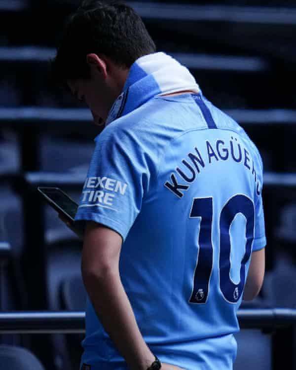 A fan wears a Sergio Agüero shirt at Tottenham in August