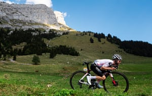 Marc Hirschi of Sunweb descends off the Col des Aravis during Stage 18 from Méribel to La Roche sur Foron.
