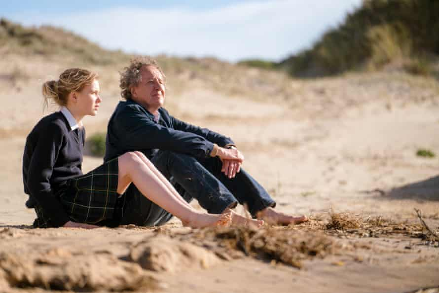 Morgana Davies and Geoffrey Rush in a scene from Storm Boy