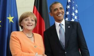 German chancellor Angela Merkel and Barack Obama.