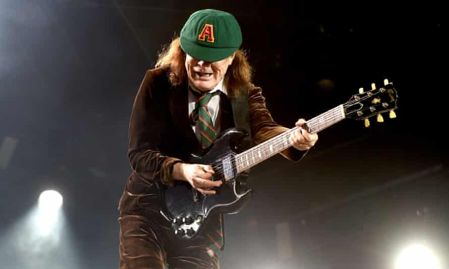 Angus Young of AC/DC performs at Dodger Stadium, Los Angeles.