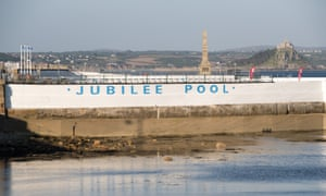 A general view of the exterior of the recently reopened Jubilee Pool lido in Penzance on May 30, 2016 in Cornwall, UK