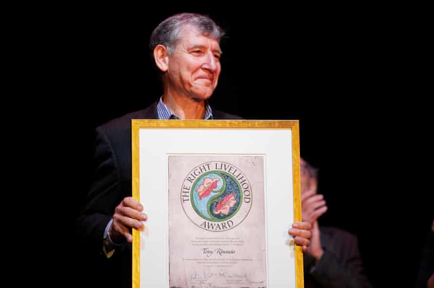 Australian agronomist Tony Rinaudo receives the Right Livelihood Award at a ceremony in the Vasa Museum in Stockholm.