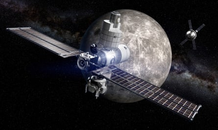 The Deep Space Gateway, seen here in an artist's rendering, would be a spaceport in lunar orbit. Boeing