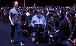 Mark Zuckerberg and journalists in VR headsets at last month's Samsung press conference