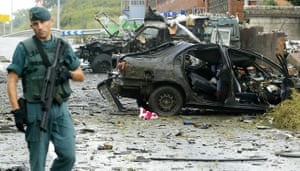 The scene of a car bomb attack on a police station in the Basque city of Durango on 24 August 2007.