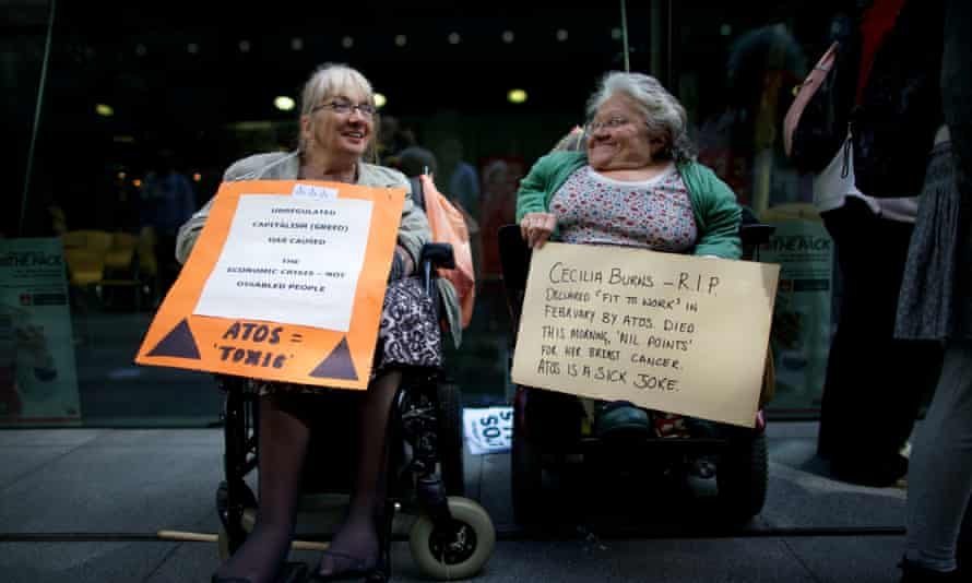 A protest outside the offices of Atos