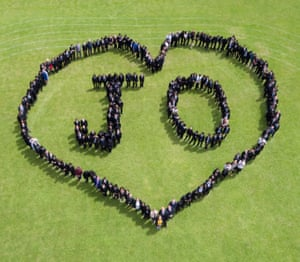 Pupils at Cockshut Hill school in Birmingham form a human chain to spell out the murdered MP's name to mark the Great Get Together weekend.