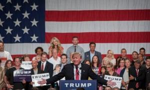 Donald Trump addresses the rally in Phoenix, Arizona on Saturday.